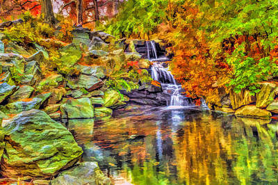 Central Park New York City Waterfall In Autumn Art Print by Geraldine Scull