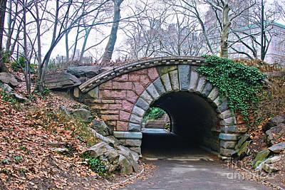 Central Park, Nyc Bridge Landscape Art Print