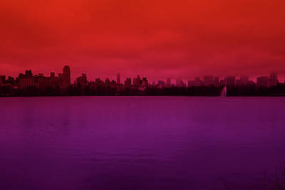 Abstract Male Faces - Central Park Red Purple no. 1 by DM Carpenter