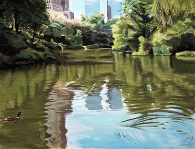 Horizontal Painting - Central Park Pond by Christopher Reid