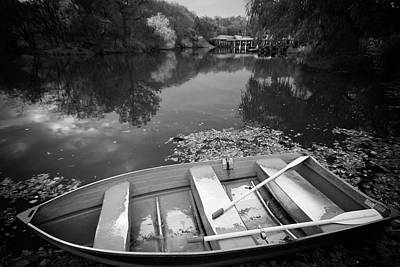 Photograph - Central Park Rowboat Black And White Version by Dave Beckerman