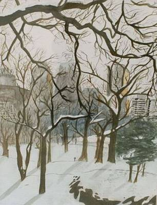 Painting - Central Park Snow by Mike Eliades