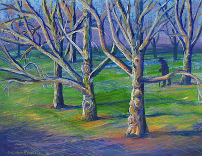 Painting - Central Park Sycamores by Art Nomad Sandra  Hansen