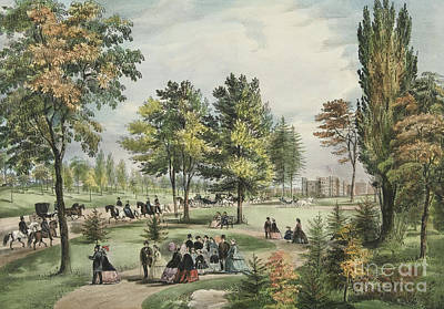 Pleasure Horse Painting - Central Park  The Drive, 1862 by Currier and Ives