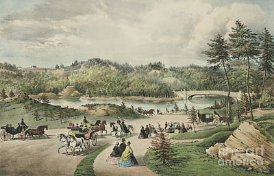 Pleasure Horse Painting - Central Park  The Lake, 1862  by Currier and Ives