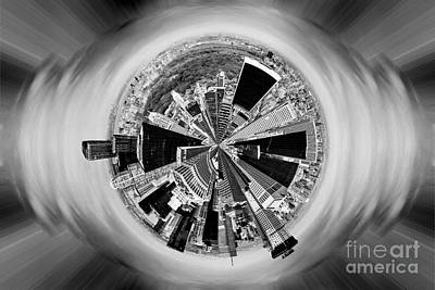 Round Digital Art - Central Park View Bw by Az Jackson