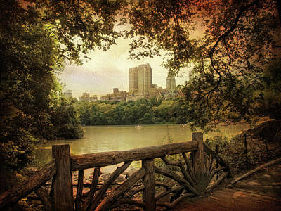 Fence Digital Art - Central Park View by Jessica Jenney