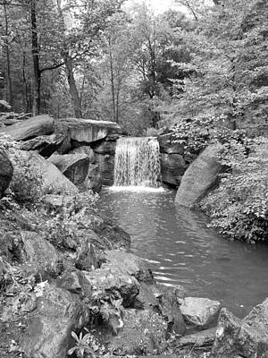 Photograph - Central Park Waterfall 2 B W by Rob Hans
