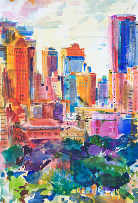 Yellow And Purple Painting - Central Park West by Peter Graham