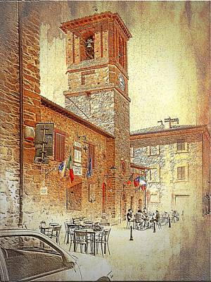 Digital Art - Central Square And Comune Building With Bell Tower Paciano by Dorothy Berry-Lound