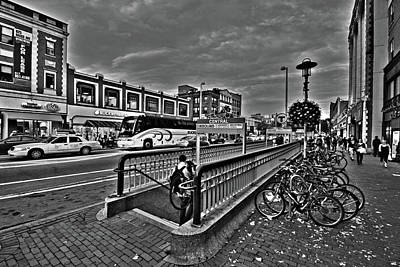Central Square Cambridge Ma Black And White Art Print by Toby McGuire