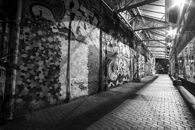 Central Square Graffiti Corridor Cambridge Ma Black And White II Art Print