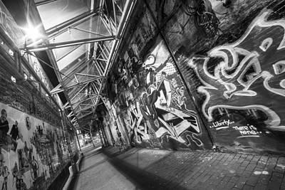Central Square Graffiti Corridor Cambridge Ma Black And White Art Print