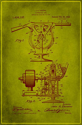 Mixed Media - Centrifugal Gun Patent Drawing 3j by Brian Reaves