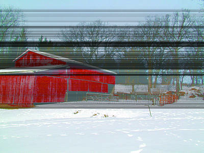 Shed Digital Art - Century Farm Shed In Snow Watercolor by Laurie With