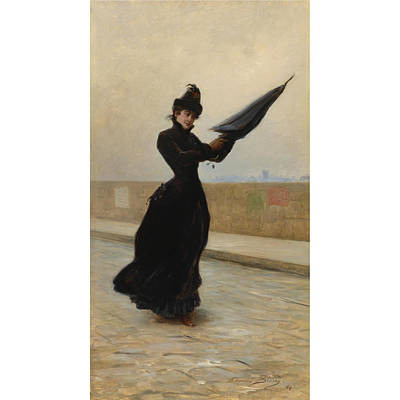 Windy Day Painting - Century French A Windy Day by Edouard Bisson