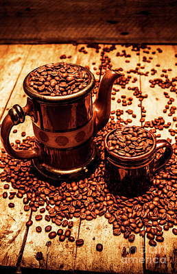 Taste Photograph - Ceramic Coffee Pot And Mug Overflowing With Beans by Jorgo Photography - Wall Art Gallery
