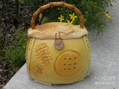 Clay Ceramic Ceramic Art - Ceramic Container With Lid by Christine Belt