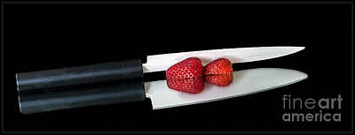 Photograph - Ceramic Knife And Strawberries by Shirley Mangini