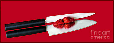 Photograph - Ceramic Knifestrawberries On Red by Shirley Mangini