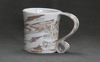 Ceramic Marbled Clay Cup Art Print by Suzanne Gaff