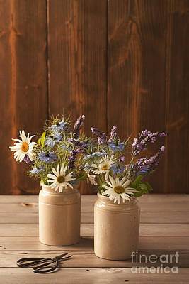 Ceramic Pots Filled With Flowers Art Print by Amanda Elwell