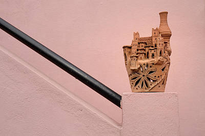 Morocco Photograph - Ceramic Pottery Sculpted As A Kasbah On The Railing Of A Stairwa by Reimar Gaertner