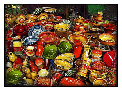 Photograph - Ceramics At Market Day by Joan  Minchak