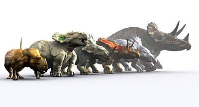 Ceratopsian Dinosaurs Art Print by Christian Darkin
