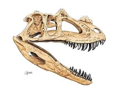 Ceratosaur Skull Art Print