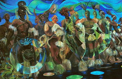 Ceremonial Dance Of The Mighty Zulus Art Print by Lee Ransaw