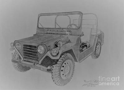 Jeep Drawing - Ceremonial Jeep by Ronald Welch