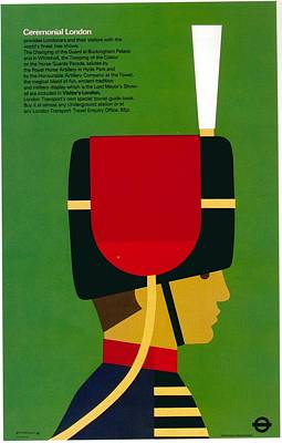 Royalty-Free and Rights-Managed Images - Ceremonial London - Royal Guard - The Queens Guard - London Underground - Retro travel Poster by Studio Grafiikka