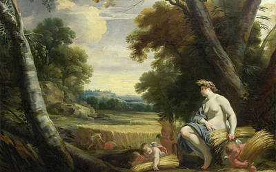 Wheat Painting - Ceres And Harvesting Cupids by Simon Vouet