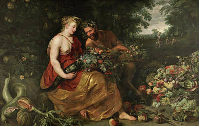 Mythological Painting - Ceres And Pan by Peter Paul Rubens