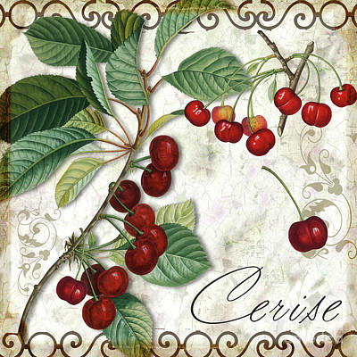 Red Cherries Painting - Cerise by Mindy Sommers