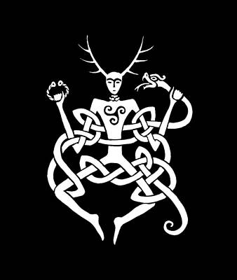 Digital Art - Cernunnos Bw by Charles Quiles