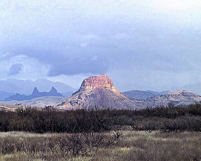 Print featuring the painting Cerro Castellan And Mule Ears  by Dennis Ciscel