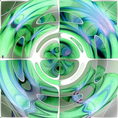 Digital Art - Cerulean Blue And Jade Abstract Collage by Tracey Harrington-Simpson