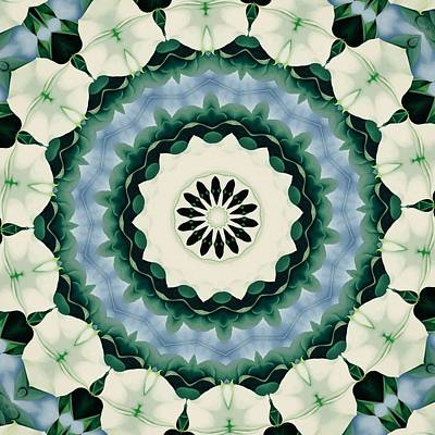 Digital Art - Cerulean Blue And Sacramento Green Mandala by Tracey Harrington-Simpson
