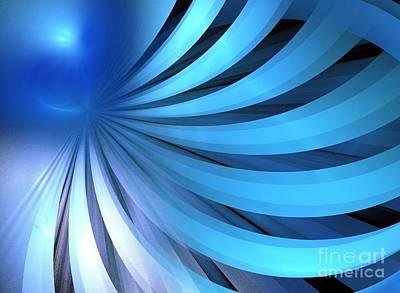 Digital Art - Cerulean Blue Layers by Kim Sy Ok