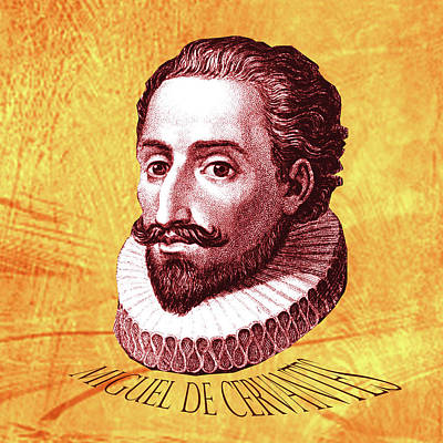 Don Quixote Digital Art - Cervantes by Asok Mukhopadhyay