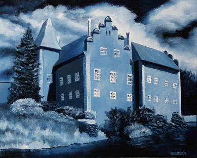 Prussian Blue Painting - Cervena Lhota Castle  Czech Republic  Midnight Oil Series by Mark Webster