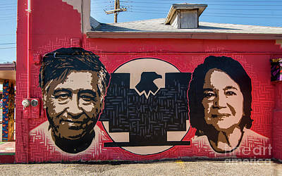 Cesar Chavez And Dolores Huerta Mural - Utah Art Print by Gary Whitton