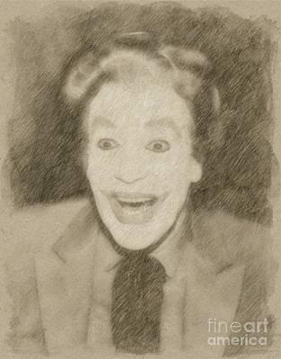 Fantasy Drawings - Cesar Romero as The Joker by Frank Falcon