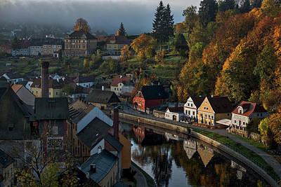 Photograph - Cesky Krumlov Autumn Morning - Czechia by Stuart Litoff