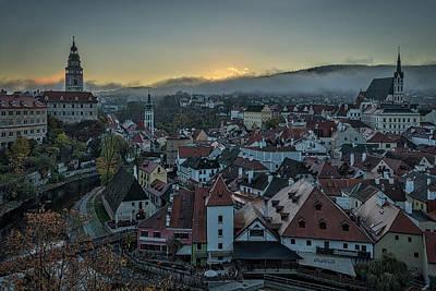 Photograph - Cesky Krumlov Morning Cityscape - Czechia by Stuart Litoff