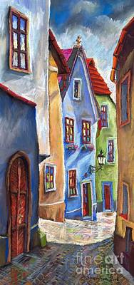 Old City Painting - Cesky Krumlov Old Street by Yuriy  Shevchuk