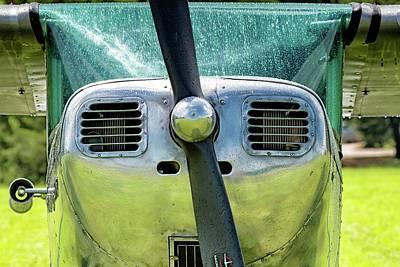 Photograph - Cessna 120 In The Rain - 2018 Christopher Buff, Www.aviationbuff.com by Chris Buff