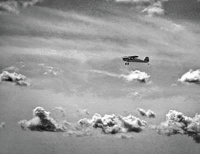 Photograph - Cessna 140 Departing Georgetown In Black And White by Bill Swartwout Fine Art Photography